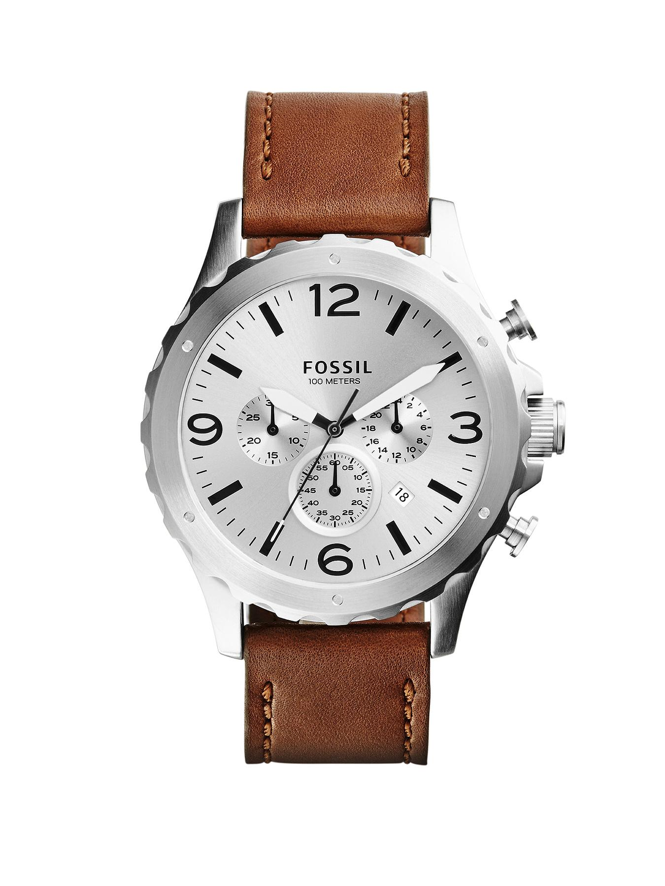 Fossil Nate Brown Leather Strap Mens Watch