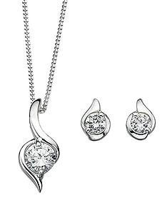 elements-sterling-silver-white-cubic-zirconia-twist-earrings-and-pendant-set