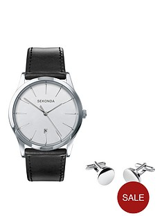 sekonda-black-strap-watch-and-cufflinks-mens-gift-set