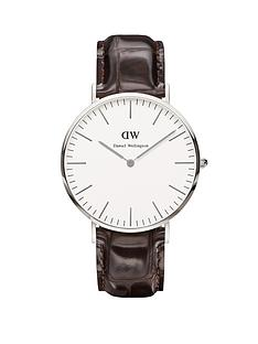 daniel-wellington-silver-tone-croc-brown-leather-strap-mens-watch