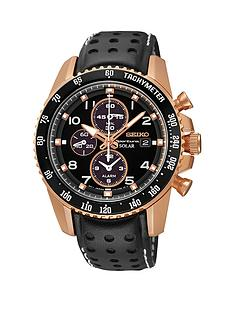 seiko-sportura-chronograph-rose-gold-black-leather-strap-mens-watch