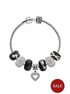 the-love-silver-collection-sterling-silver-black-sparkle-charm-bracelet-complete-with-13-charms