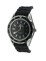 Black Dial and Black Silicone Strap Mens Watch