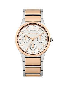 karen-millen-silver-tone-multi-dial-two-tone-bracelet-ladies-watch