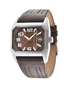 police-voyager-brown-leather-strap-mens-watch