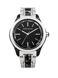 karen-millen-black-dial-two-tone-bracelet-ladies-watch