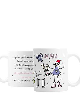 personalised-purple-ronnie-christmas-female-mug