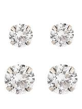 9-Carat White Gold Set of 2 Cubic Zirconia 5mm and 7mm Earrings