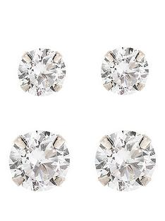 love-gem-9-carat-white-gold-set-of-2-cubic-zirconia-5mm-and-7mm-earrings
