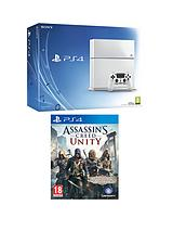 White Console with Assassins Creed: Unity and Optional 12 Months Playstation Plus