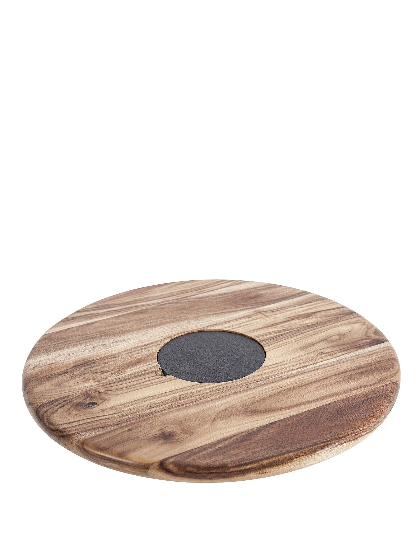 35cm Lazy Susan Acacia with Slate Plate