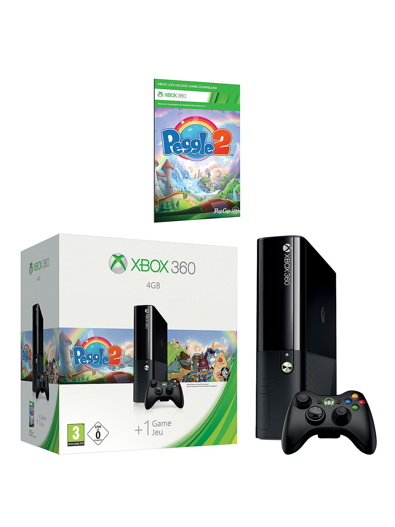 XBOX 360 4Gb Arcade Console with Peggle 2 and Optional 3 or 12 Months Xbox Live Gold