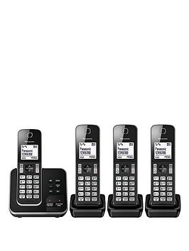 Panasonic Kx-Tgd324Eb Cordless Telephone With Answering Machine And Nuisance Call Block - Quad Pack - Black