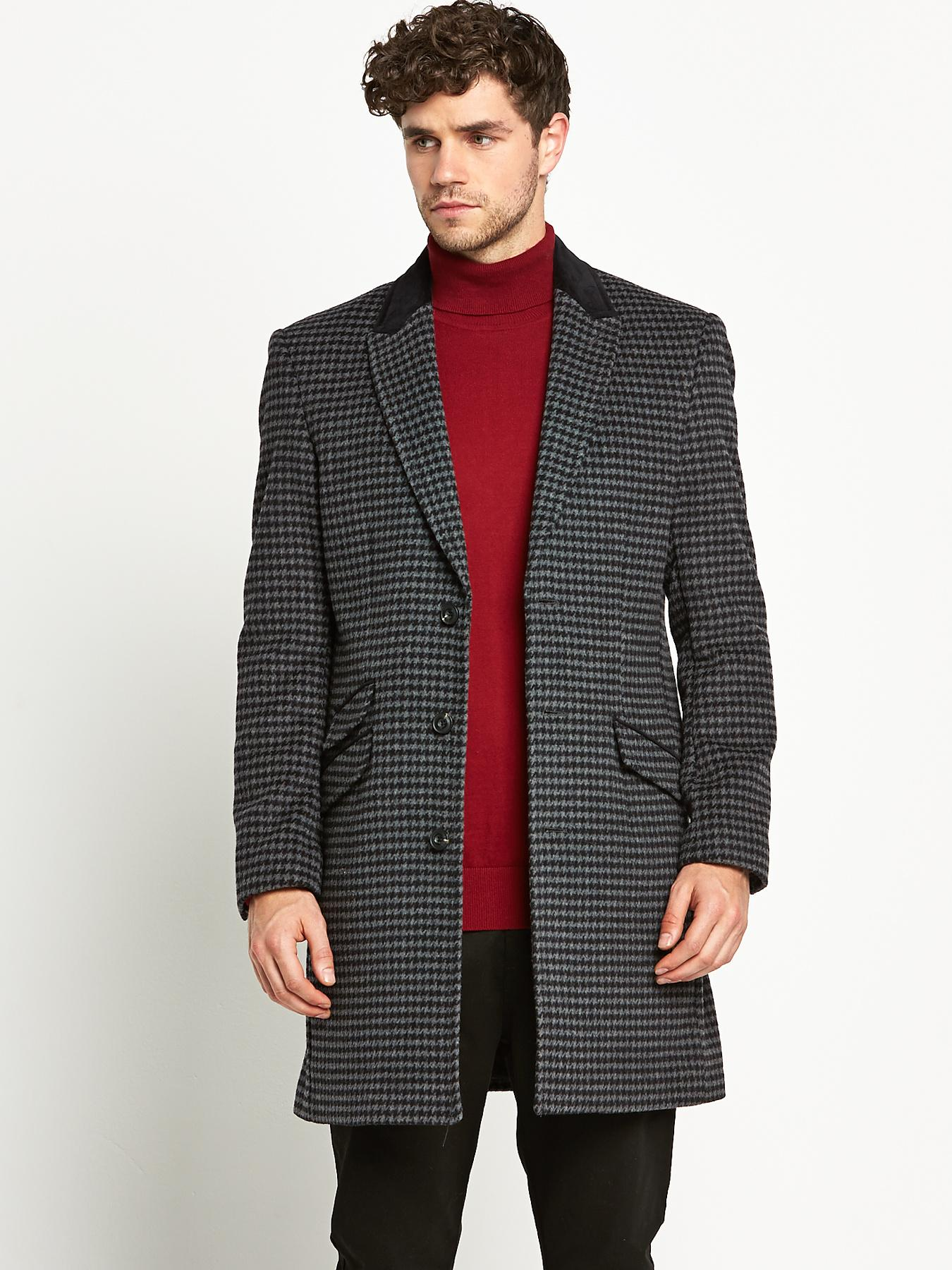 Taylor & Reece Mens Check Overcoat - Grey, Grey
