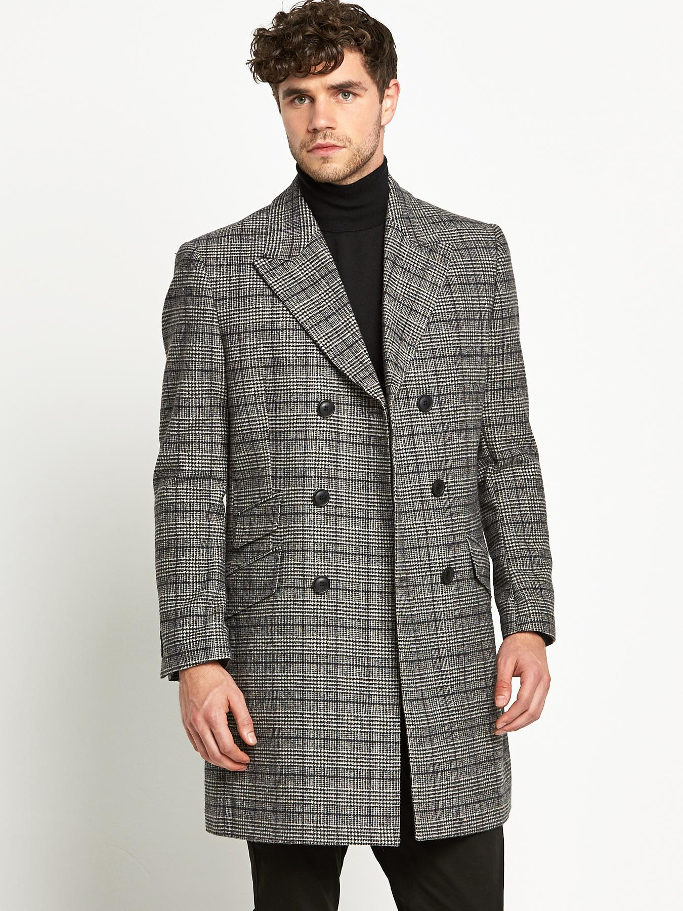 Taylor & Reece Mens Double Breasted Overcoat - Grey, Grey