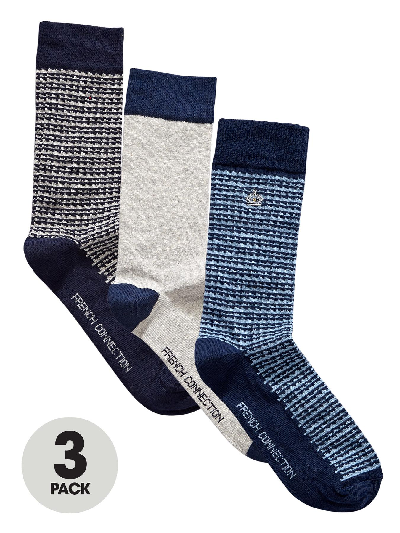 French Connection Mens Pattern Socks (3 Pack)