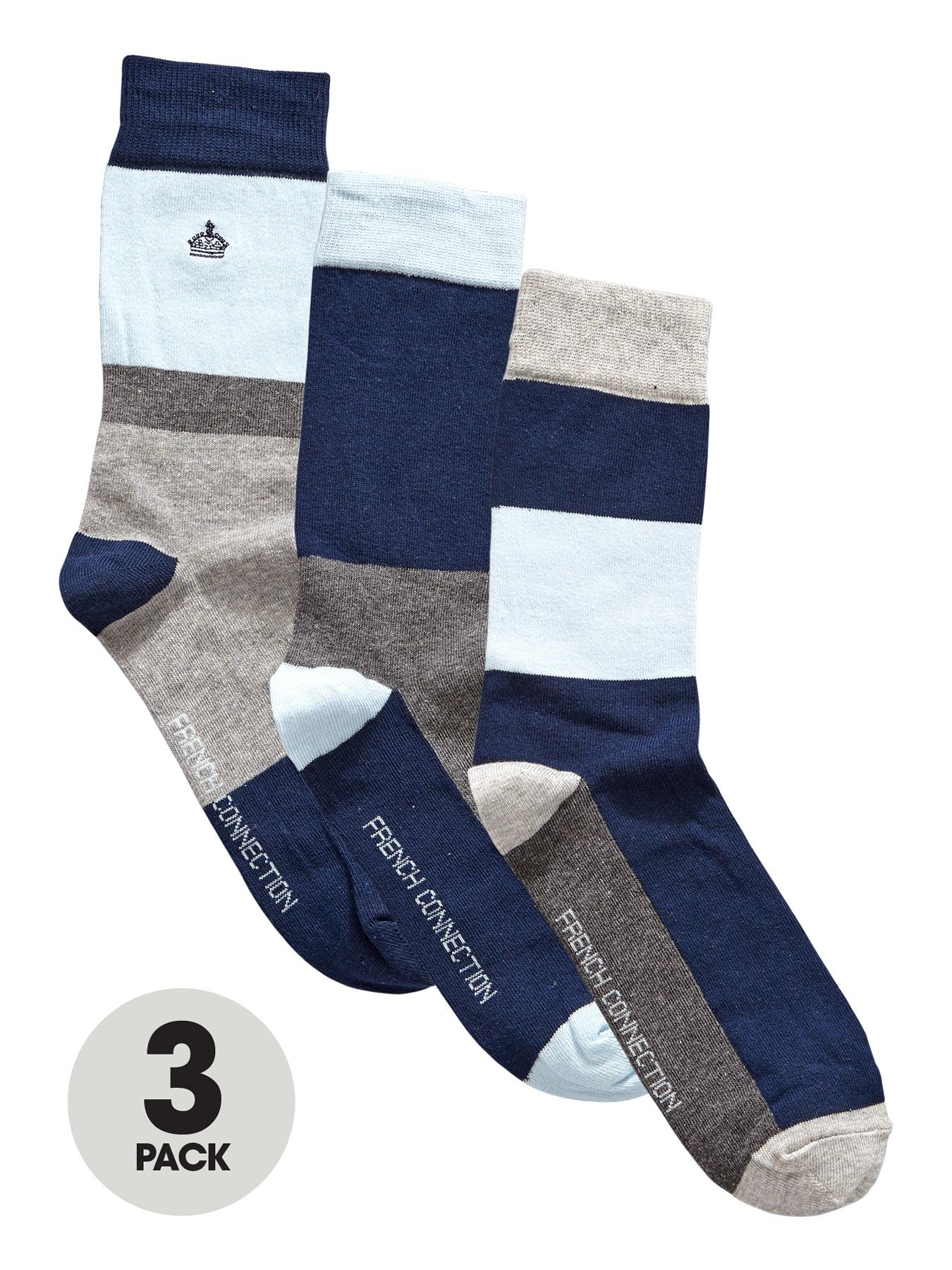 French Connection Mens Block Socks (3 Pack) - Grey, Grey