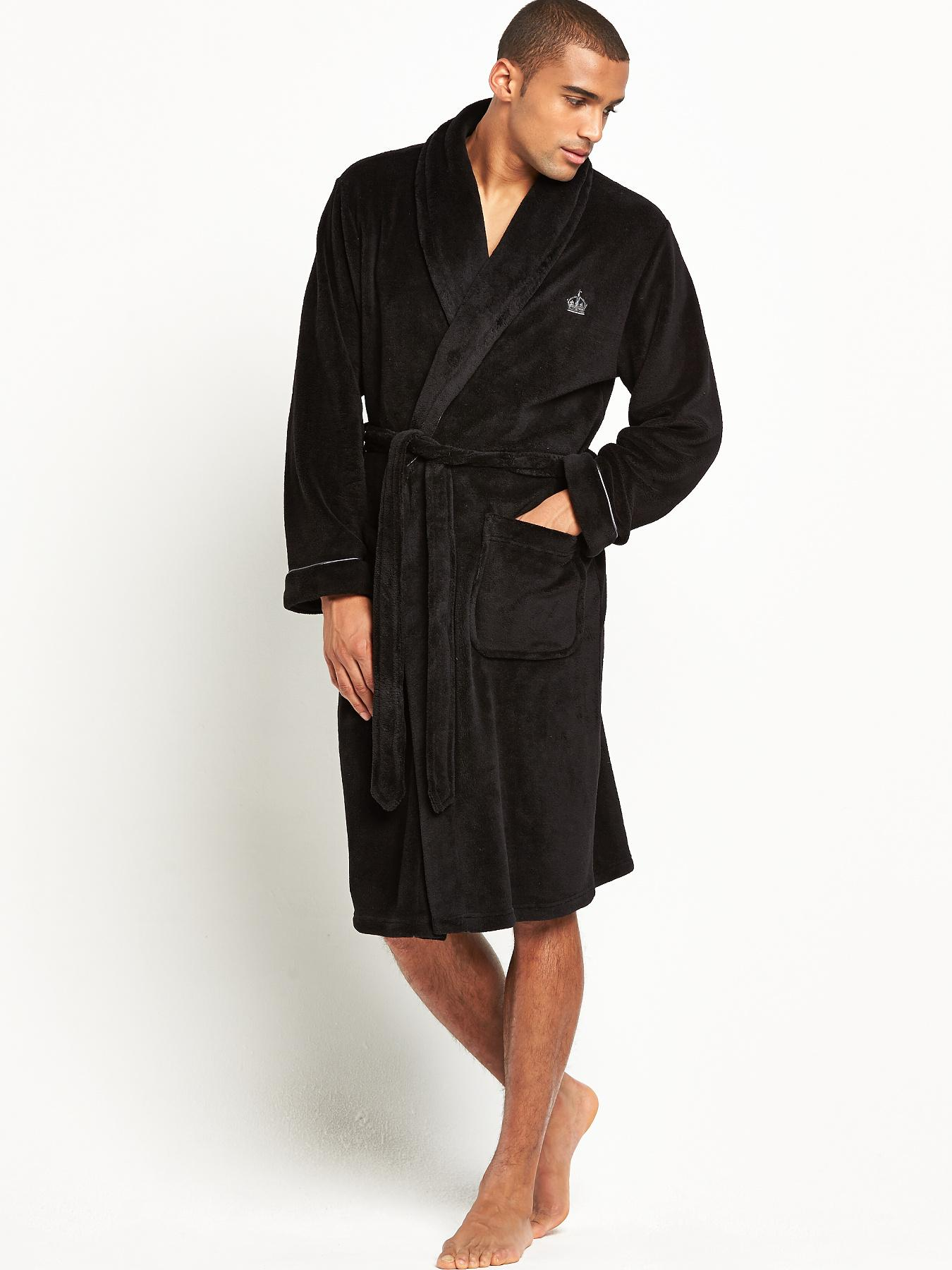 French Connection Mens Shawl Collar Robe - Black, Black