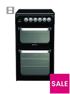 hotpoint-hue52k-50cm-double-oven-electric-cooker-with-ceramic-hob-black
