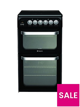 hotpoint-ultima-hue52k-50cm-double-oven-electric-cooker-with-ceramic-hob-black