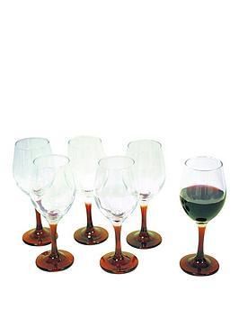 Set Of 6 Red Stem Wine Glasses
