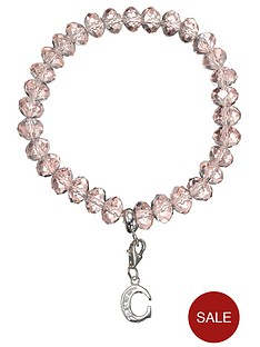 love-silver-sterling-silver-initial-charm-pink-beaded-bracelet