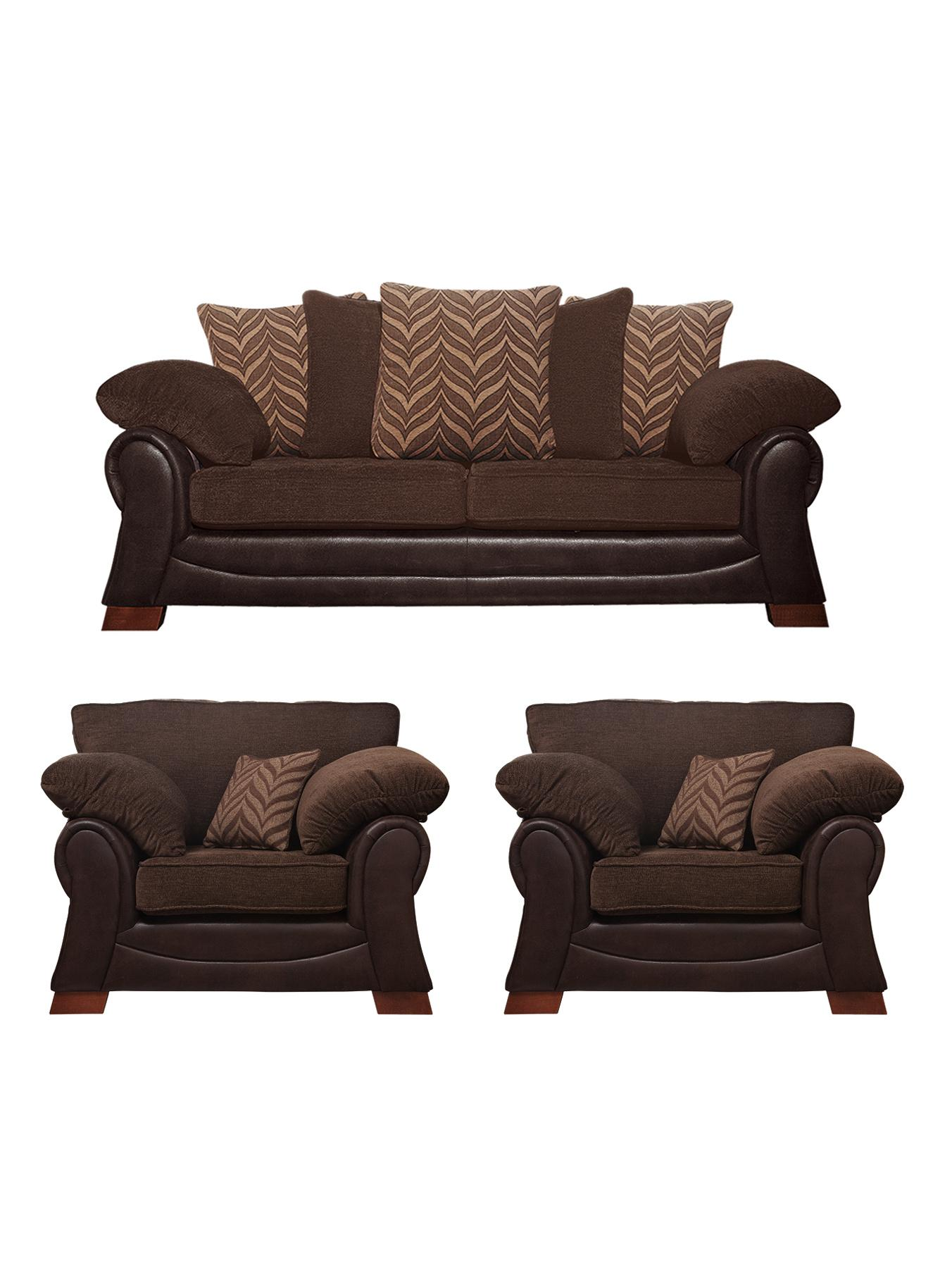 Mombassa 3-Seater Sofa + 2 Chairs - Chocolate, Chocolate,Black at Very, from Littlewoods