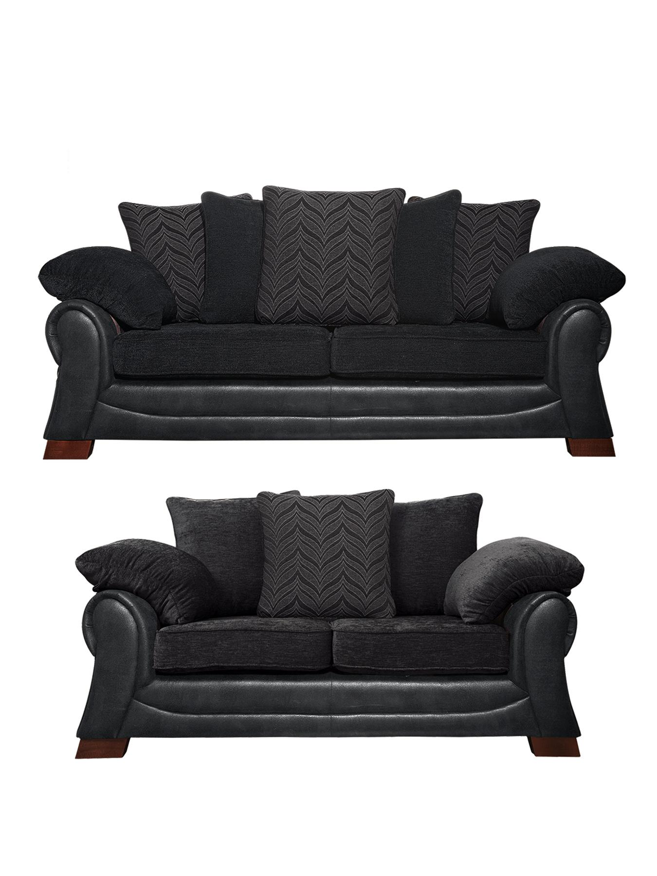 Mombassa 3-Seater + 2-Seater Sofa Set - Chocolate, Chocolate,Black at Very, from Littlewoods