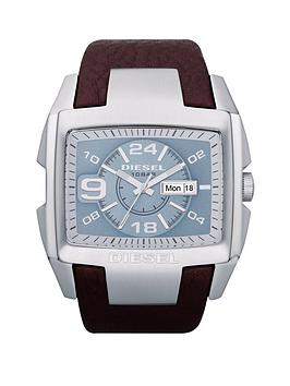 Diesel Megatron Blue Dial Mens Watch with Brown Strap