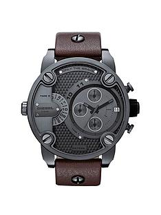 diesel-baby-daddy-gunmetal-and-brown-strap-mens-watch