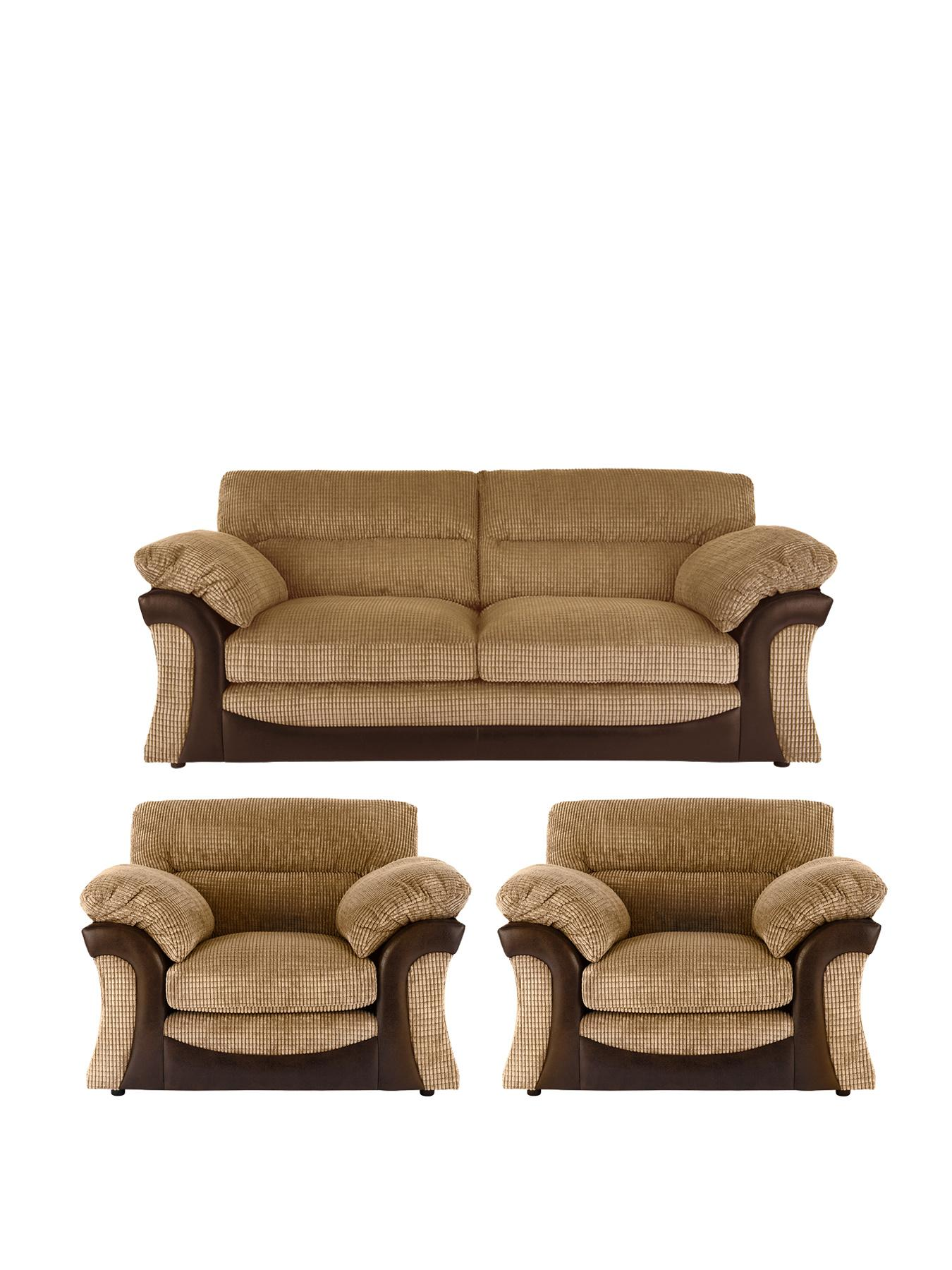 Rapide 3-Seater Sofa + 2 Chairs - Chocolate, Chocolate,Charcoal at Very, from Littlewoods