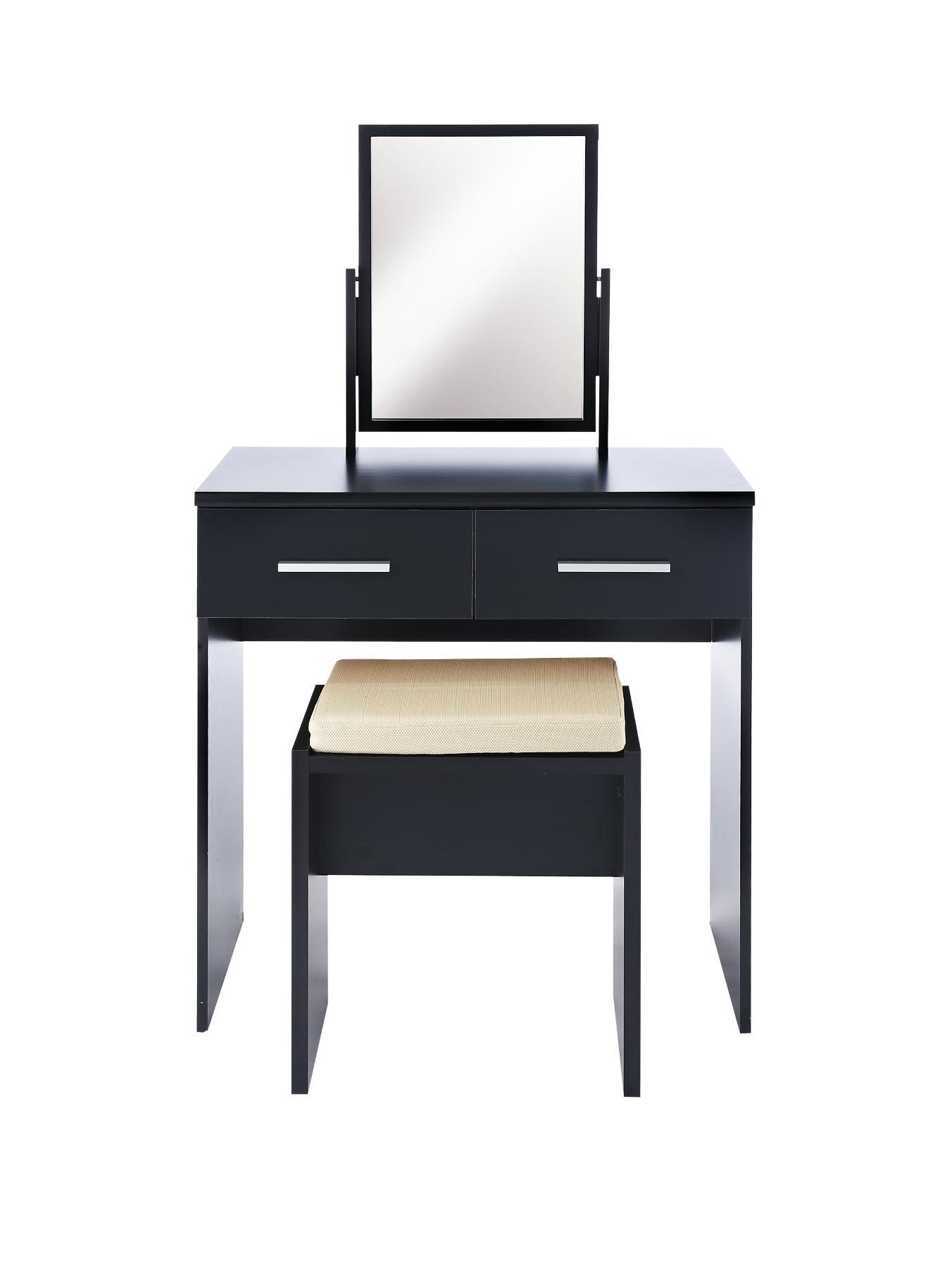 Prague High Gloss Dressing Table, Stool and Mirror Set - Black, Black,White