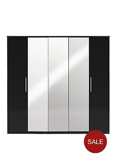 prague-high-gloss-5-door-mirrored-wardrobe