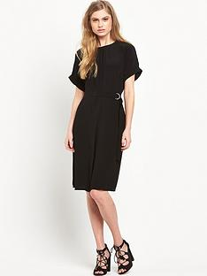 warehouse-dropped-shoulder-belted-dress