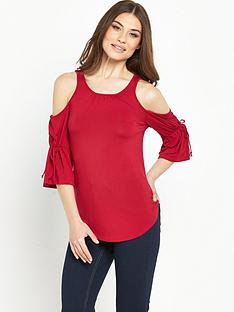 v-by-very-blouson-sleeve-cold-shoulder-top-redblacknbsp