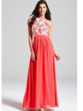 little-mistress-coral-and-cream-floral-top-maxi-dress