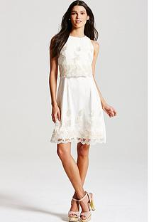 little-mistress-cream-metallic-floral-2-in-1-dress