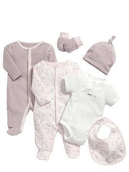 mamas-papas-baby-girls-pink-sleepsuit-and-bodysuit-gift-set-6-piece