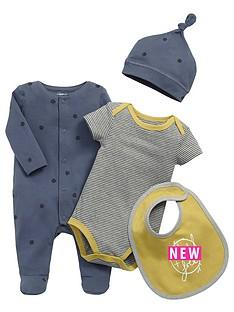 mamas-papas-baby-boys-sleepsuit-bodysuit-hat-and-bib-set-4-piece