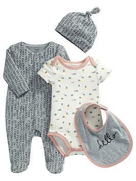 mamas-papas-baby-girls-sleepsuit-bodysuit-hat-and-bib-set-4-piece