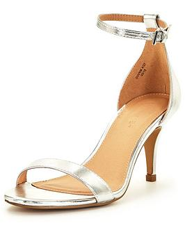 b734974e83 V by Very Buttercup Mid Heel Ankle Strap Sandal - Silver | very.co.