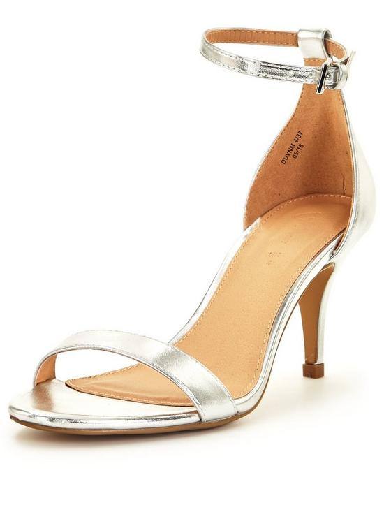 V by Very Buttercup Mid Heel Ankle Strap Sandal - Silver | very.co.uk
