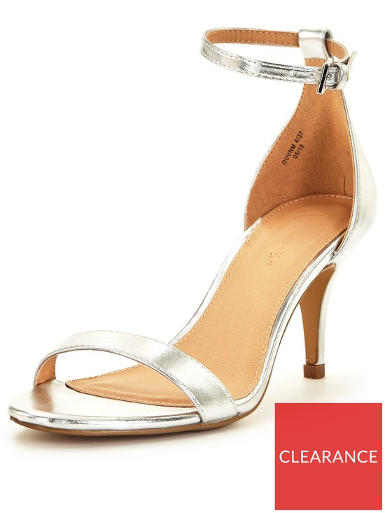 9a178dc56 V by Very Buttercup Mid Heel Ankle Strap Sandal - Silver