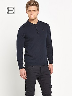 883-police-hudson-mens-long-sleeve-knitted-polo-shirt