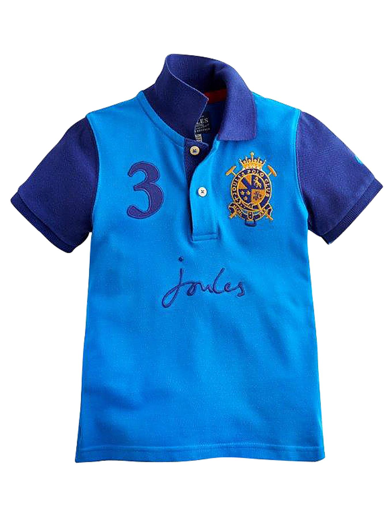 Joules Harry Boys Contrast Sleeve Polo Shirt - Blue, Blue