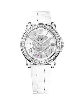 Juicy Couture Ladies Pedigree White Jelly Strap And Pave Crystal-Set Dial Watch