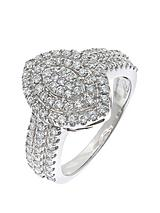 9 Carat White Gold, 1 Carat Large Cluster Ring with Shoulders