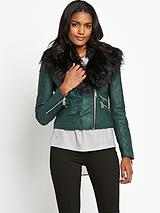 PU Fur Collar Biker Jacket