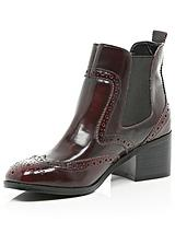 Low Block Heel Red Patent Chelsea Ankle Boots
