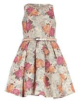 Floral Tapestry Dress with Metallic Waist Belt